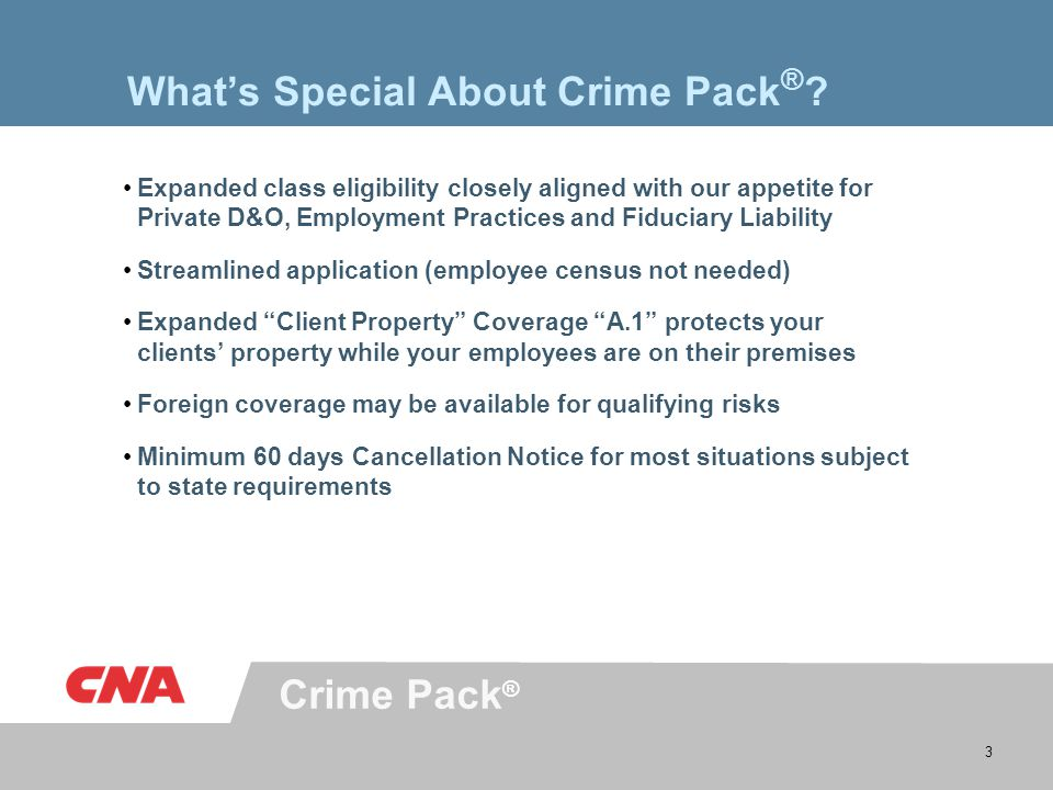 Crime Pack ® 3 What's Special About Crime Pack ® .