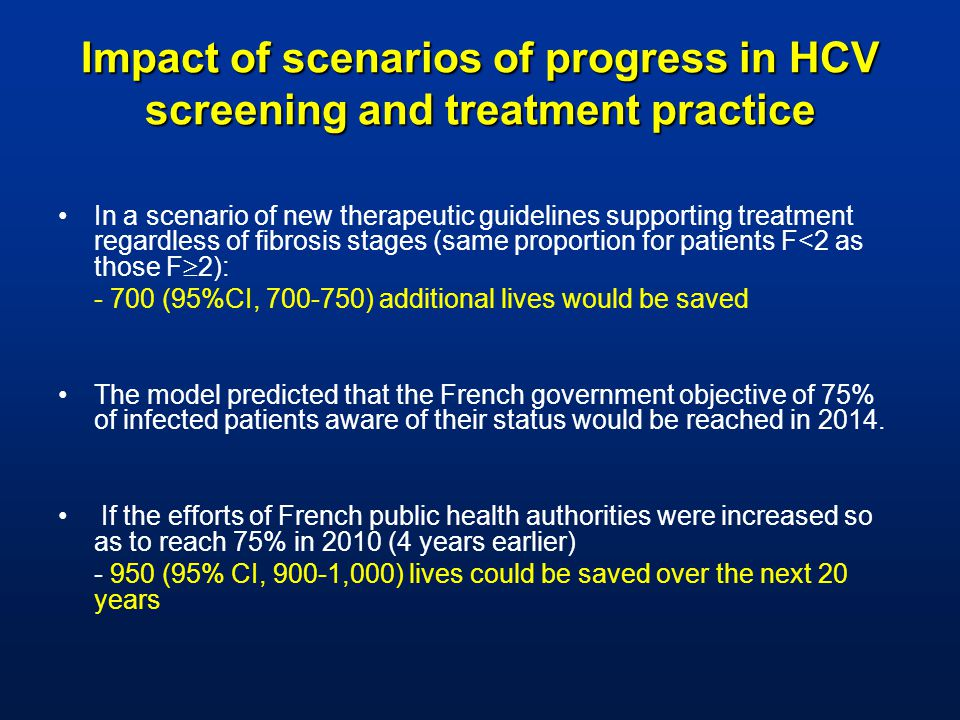 In a scenario of new therapeutic guidelines supporting treatment regardless of fibrosis stages (same proportion for patients F<2 as those F  2): (95%CI, ) additional lives would be saved The model predicted that the French government objective of 75% of infected patients aware of their status would be reached in 2014.