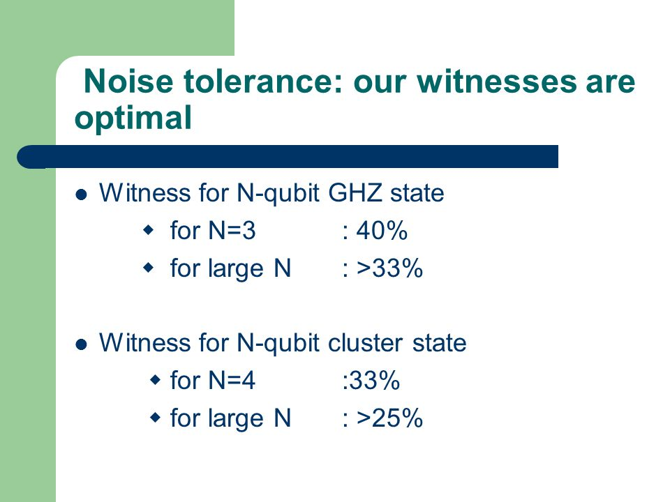 Noise tolerance: our witnesses are optimal Witness for N-qubit GHZ state  for N=3: 40%  for large N: >33% Witness for N-qubit cluster state  for N=4:33%  for large N: >25%