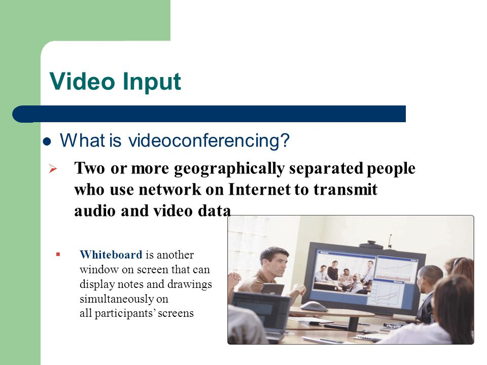 Video Input What is videoconferencing.