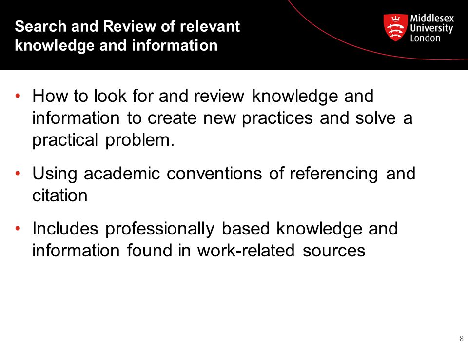 Search and Review of relevant knowledge and information How to look for and review knowledge and information to create new practices and solve a practical problem.