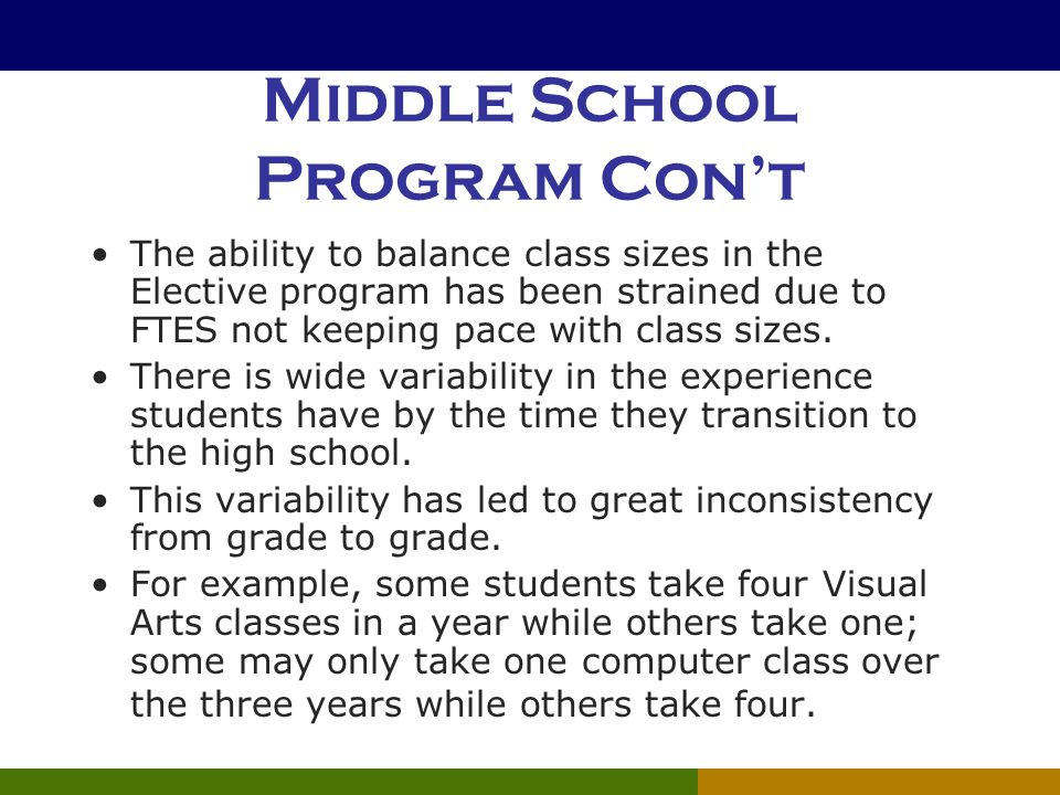 Middle School Program Con't The ability to balance class sizes in the Elective program has been strained due to FTES not keeping pace with class sizes.