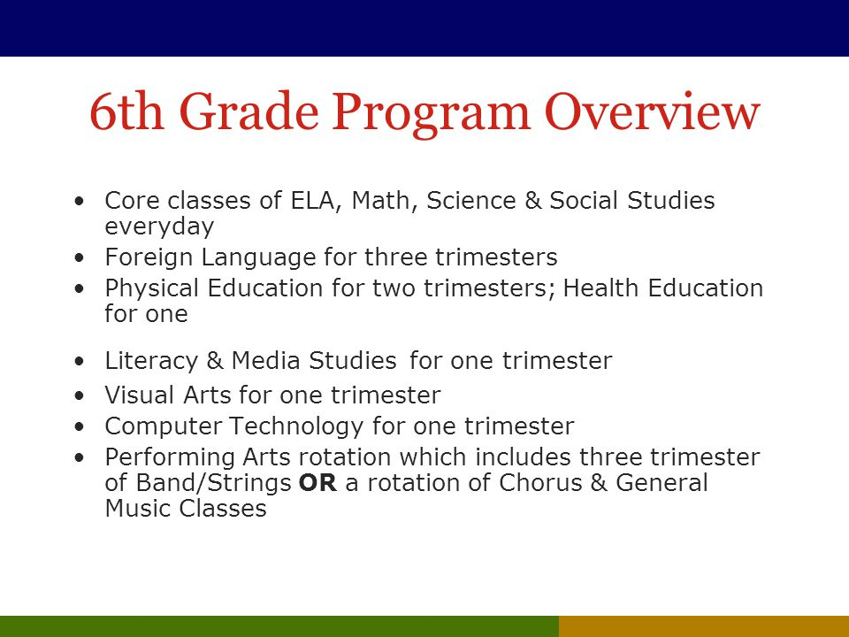 6th Grade Program Overview Core classes of ELA, Math, Science & Social Studies everyday Foreign Language for three trimesters Physical Education for two trimesters; Health Education for one Literacy & Media Studies for one trimester Visual Arts for one trimester Computer Technology for one trimester Performing Arts rotation which includes three trimester of Band/Strings OR a rotation of Chorus & General Music Classes