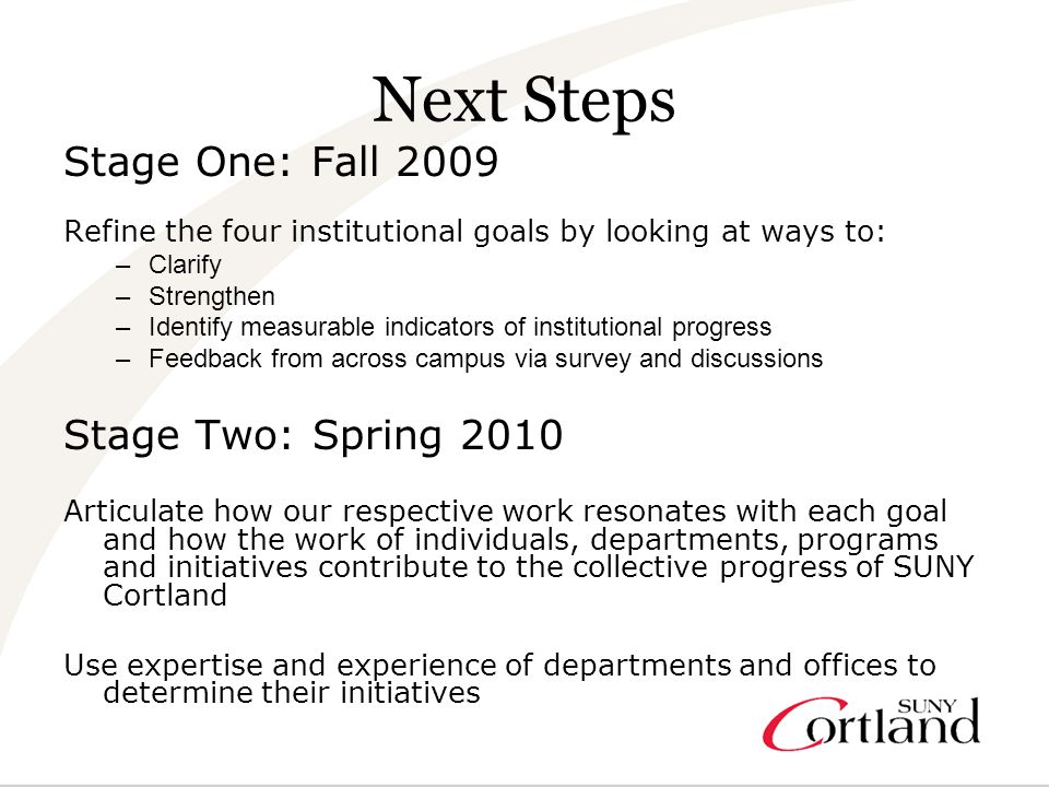 Next Steps Stage One: Fall 2009 Refine the four institutional goals by looking at ways to: –Clarify –Strengthen –Identify measurable indicators of institutional progress –Feedback from across campus via survey and discussions Stage Two: Spring 2010 Articulate how our respective work resonates with each goal and how the work of individuals, departments, programs and initiatives contribute to the collective progress of SUNY Cortland Use expertise and experience of departments and offices to determine their initiatives