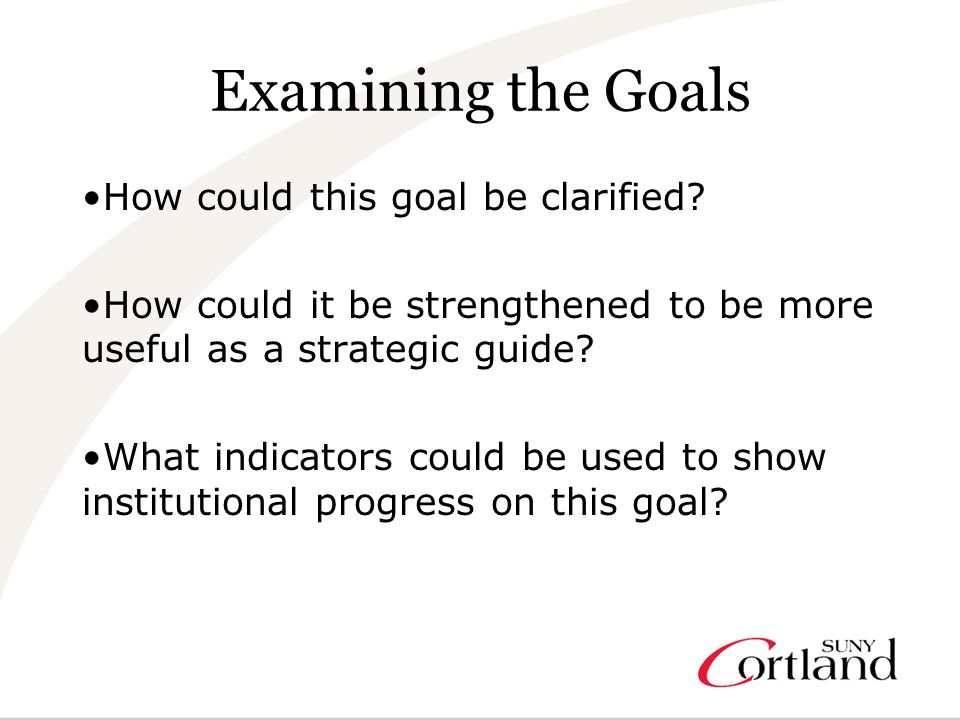 Examining the Goals How could this goal be clarified.