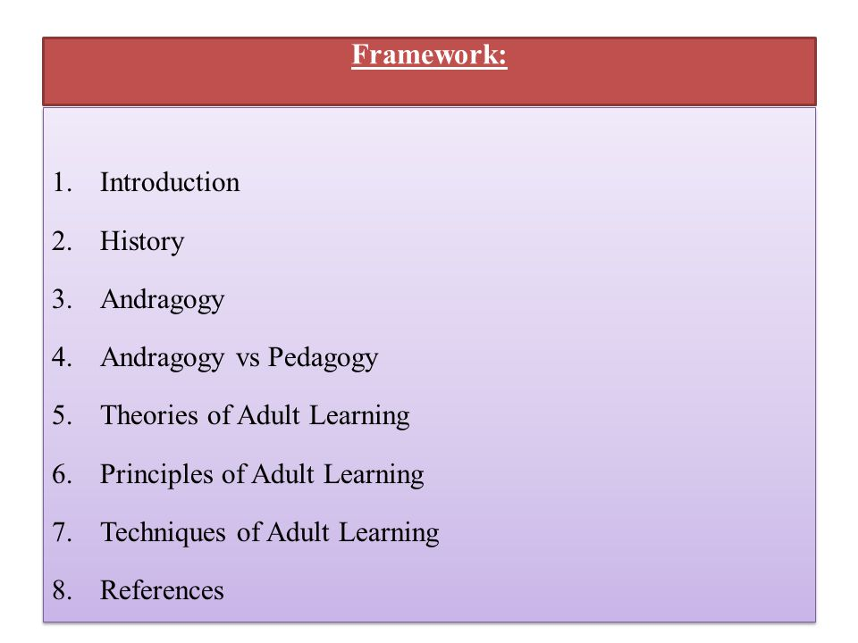 History of adult learning