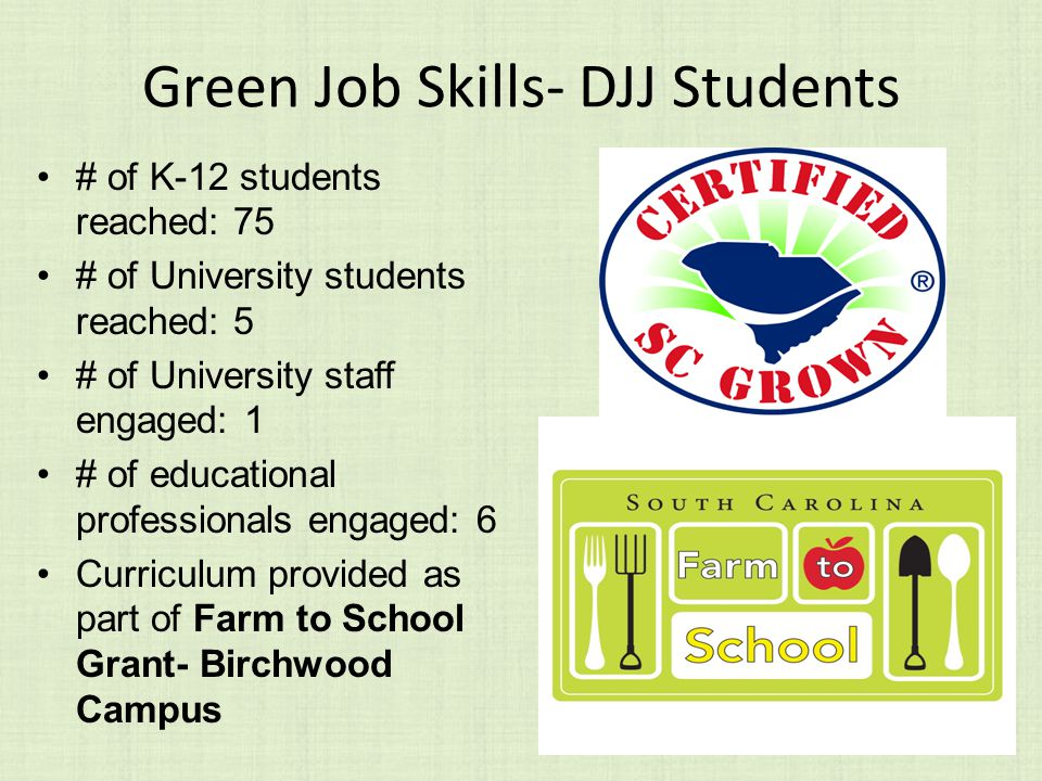 Green Job Skills- DJJ Students # of K-12 students reached: 75 # of University students reached: 5 # of University staff engaged: 1 # of educational professionals engaged: 6 Curriculum provided as part of Farm to School Grant- Birchwood Campus