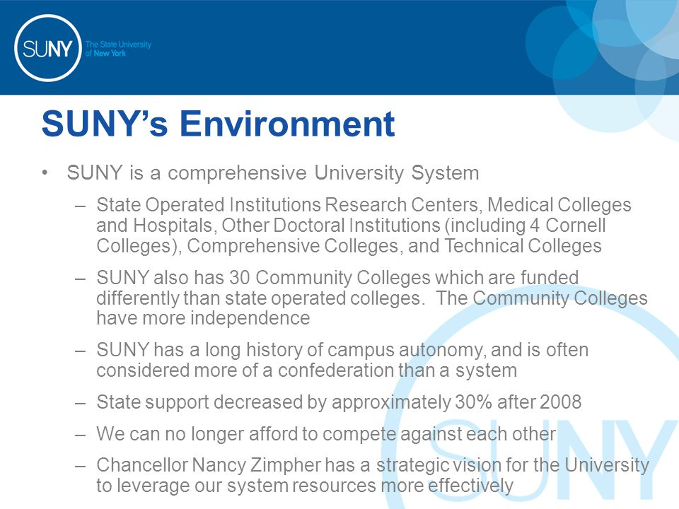 SUNY's Environment SUNY is a comprehensive University System –State Operated Institutions Research Centers, Medical Colleges and Hospitals, Other Doctoral Institutions (including 4 Cornell Colleges), Comprehensive Colleges, and Technical Colleges –SUNY also has 30 Community Colleges which are funded differently than state operated colleges.