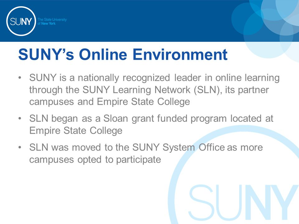 SUNY's Online Environment SUNY is a nationally recognized leader in online learning through the SUNY Learning Network (SLN), its partner campuses and Empire State College SLN began as a Sloan grant funded program located at Empire State College SLN was moved to the SUNY System Office as more campuses opted to participate