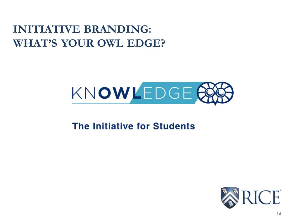 INITIATIVE BRANDING: WHAT'S YOUR OWL EDGE 14