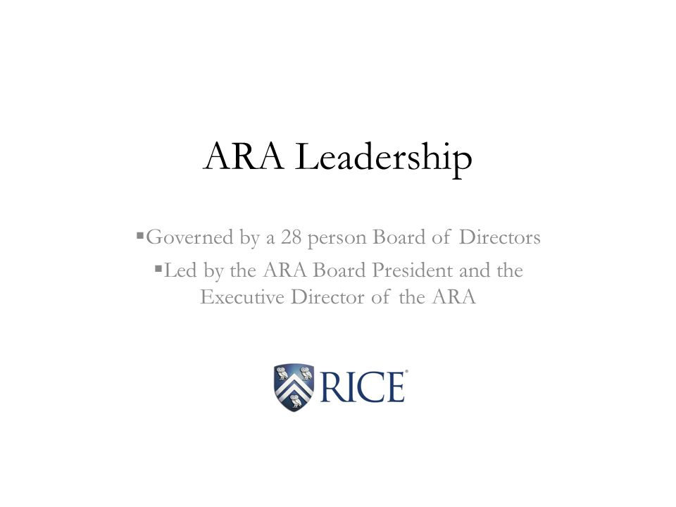 ARA Leadership  Governed by a 28 person Board of Directors  Led by the ARA Board President and the Executive Director of the ARA