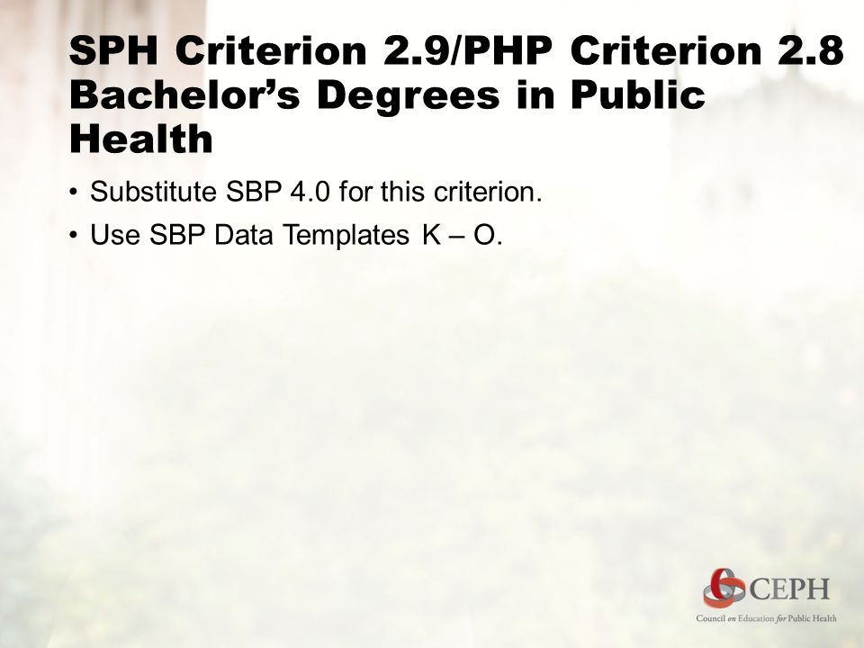 SPH Criterion 2.9/PHP Criterion 2.8 Bachelor's Degrees in Public Health Substitute SBP 4.0 for this criterion.