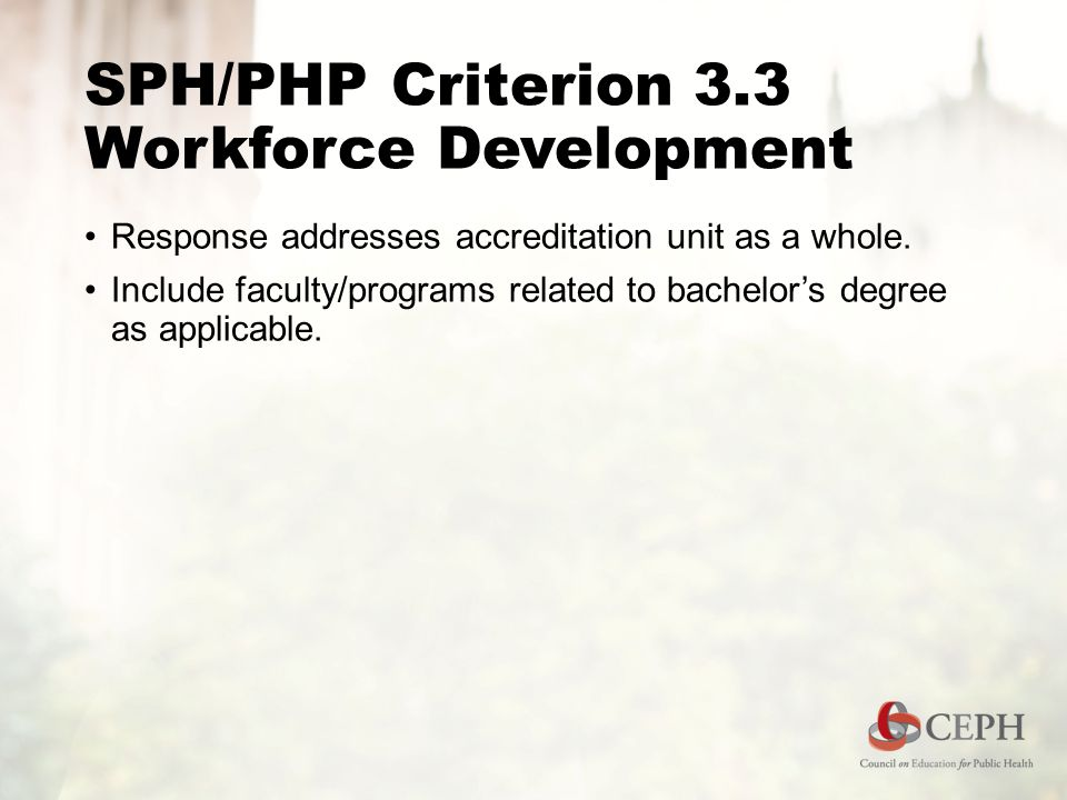 SPH/PHP Criterion 3.3 Workforce Development Response addresses accreditation unit as a whole.