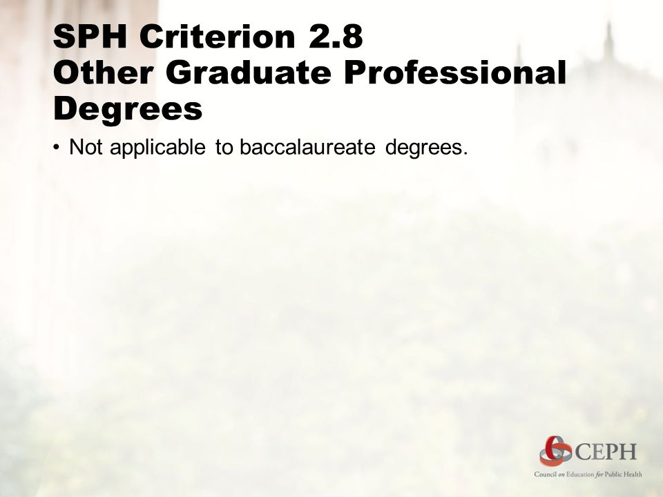 SPH Criterion 2.8 Other Graduate Professional Degrees Not applicable to baccalaureate degrees.