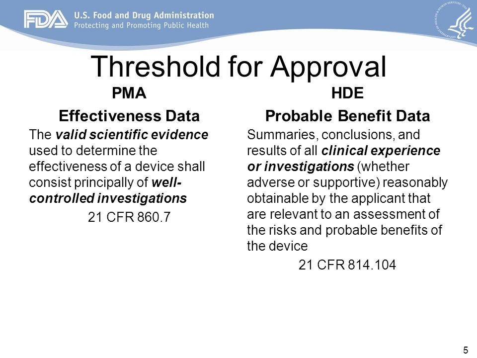 Threshold for Approval PMA Effectiveness Data The valid scientific evidence used to determine the effectiveness of a device shall consist principally of well- controlled investigations 21 CFR HDE Probable Benefit Data Summaries, conclusions, and results of all clinical experience or investigations (whether adverse or supportive) reasonably obtainable by the applicant that are relevant to an assessment of the risks and probable benefits of the device 21 CFR