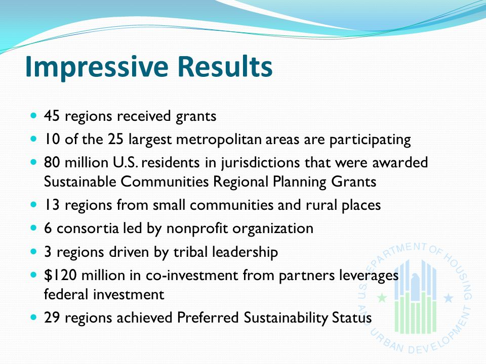 Impressive Results 45 regions received grants 10 of the 25 largest metropolitan areas are participating 80 million U.S.