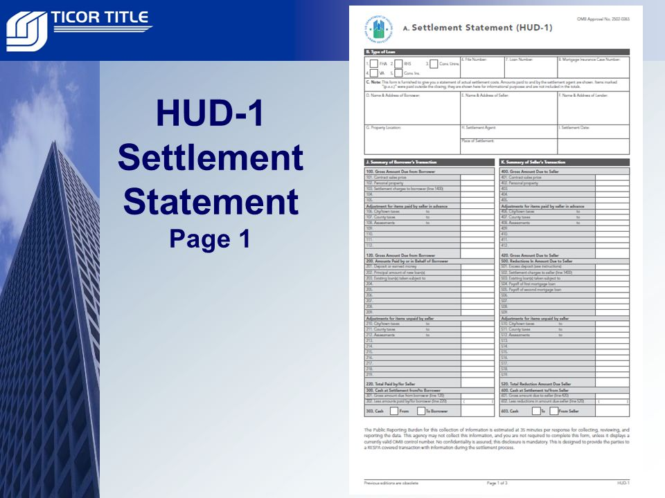 HUD-1 Settlement Statement Page 1