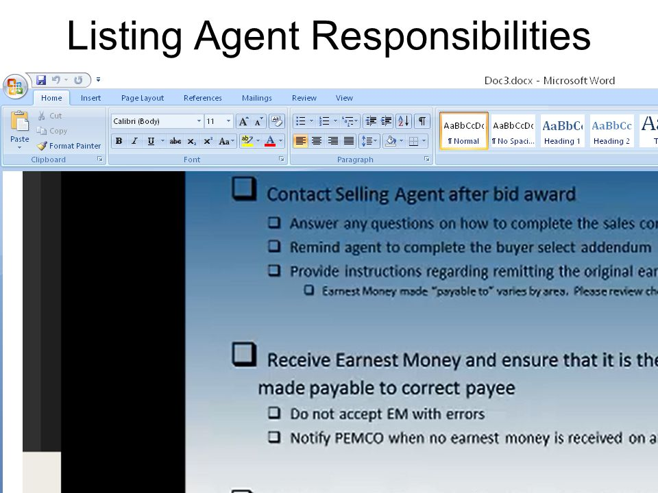 Listing Agent Responsibilities