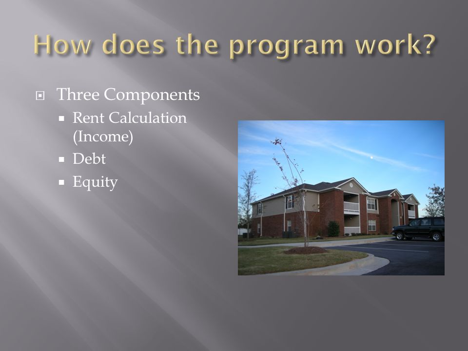  Three Components  Rent Calculation (Income)  Debt  Equity
