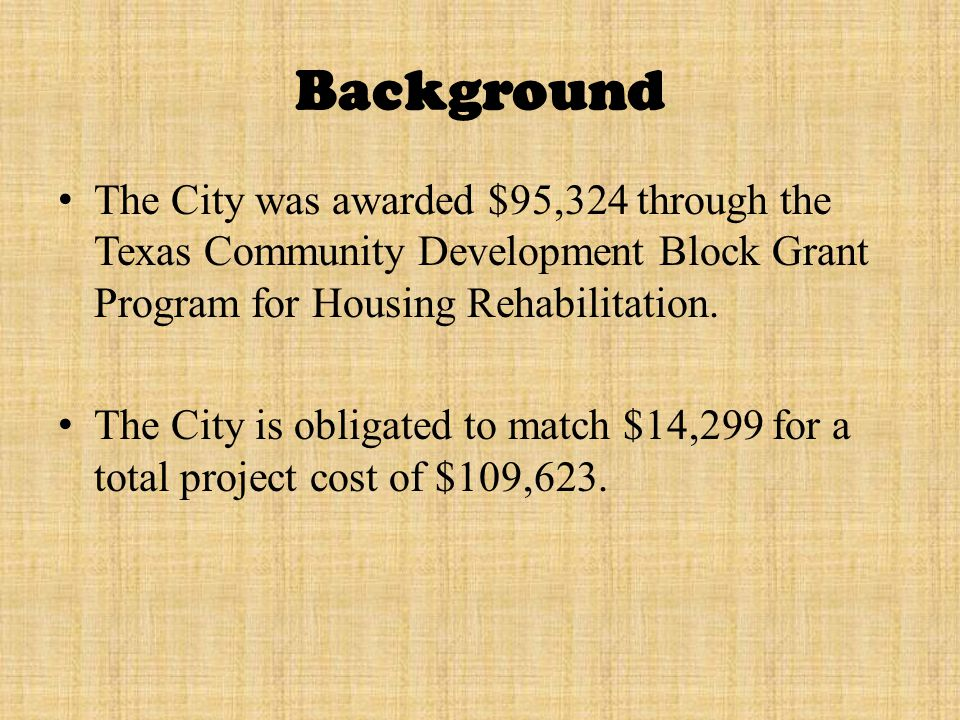City of Eagle Pass, Texas TxCDBG Contract HOUSING REHABILIATION