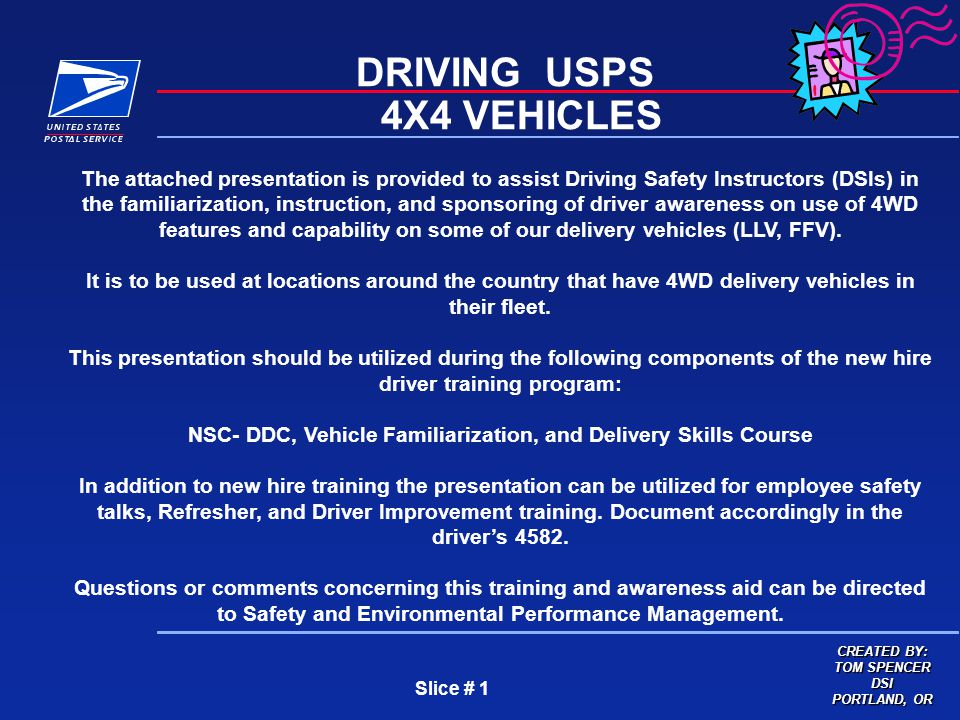 Slice # 1 DRIVING USPS 4X4 VEHICLES The attached