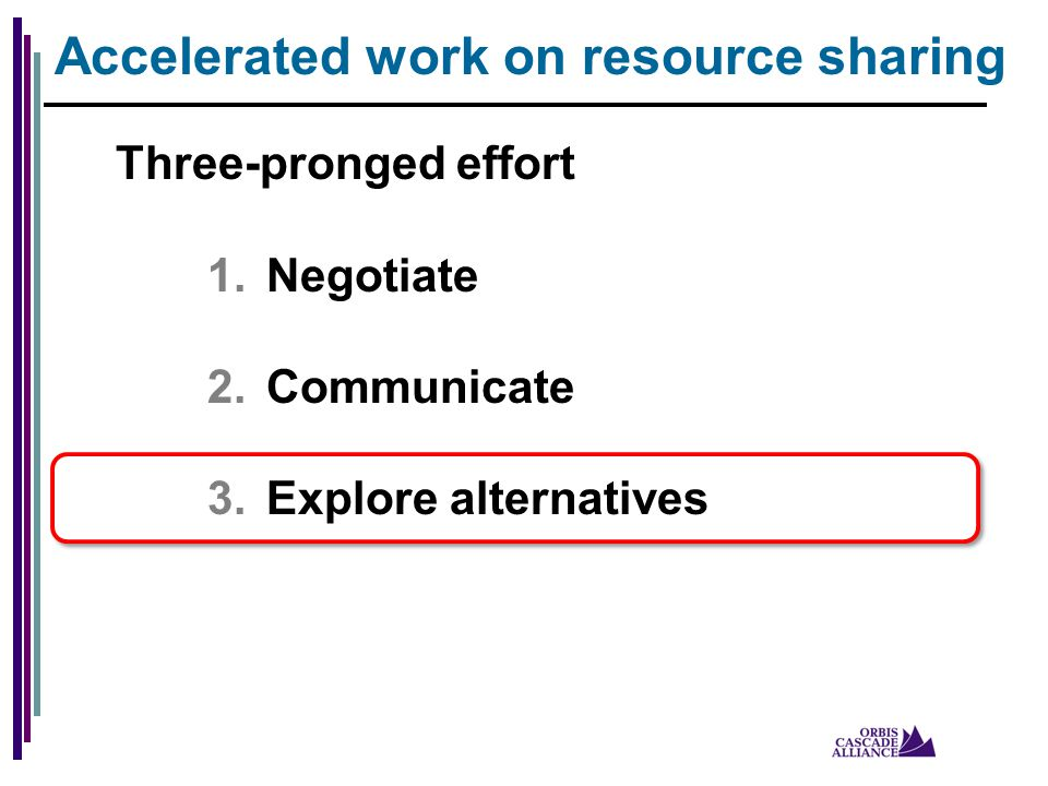 Three-pronged effort 1.Negotiate 2.Communicate 3.Explore alternatives Accelerated work on resource sharing