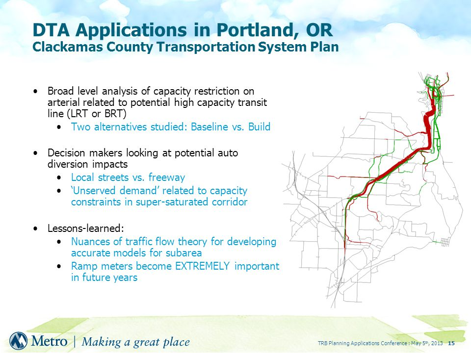TRB Planning Applications Conference : May 5 th, DTA Applications in Portland, OR Clackamas County Transportation System Plan Broad level analysis of capacity restriction on arterial related to potential high capacity transit line (LRT or BRT) Two alternatives studied: Baseline vs.
