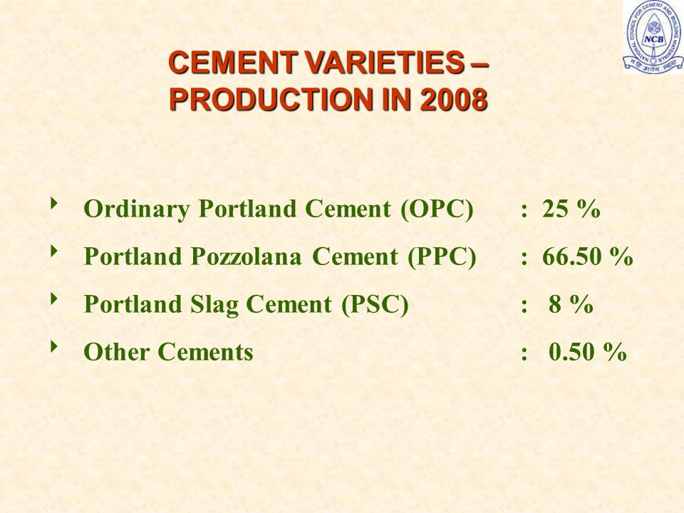 CEMENT VARIETIES – PRODUCTION IN 2008  Ordinary Portland Cement (OPC): 25 %  Portland Pozzolana Cement (PPC): %  Portland Slag Cement (PSC): 8 %  Other Cements: 0.50 %