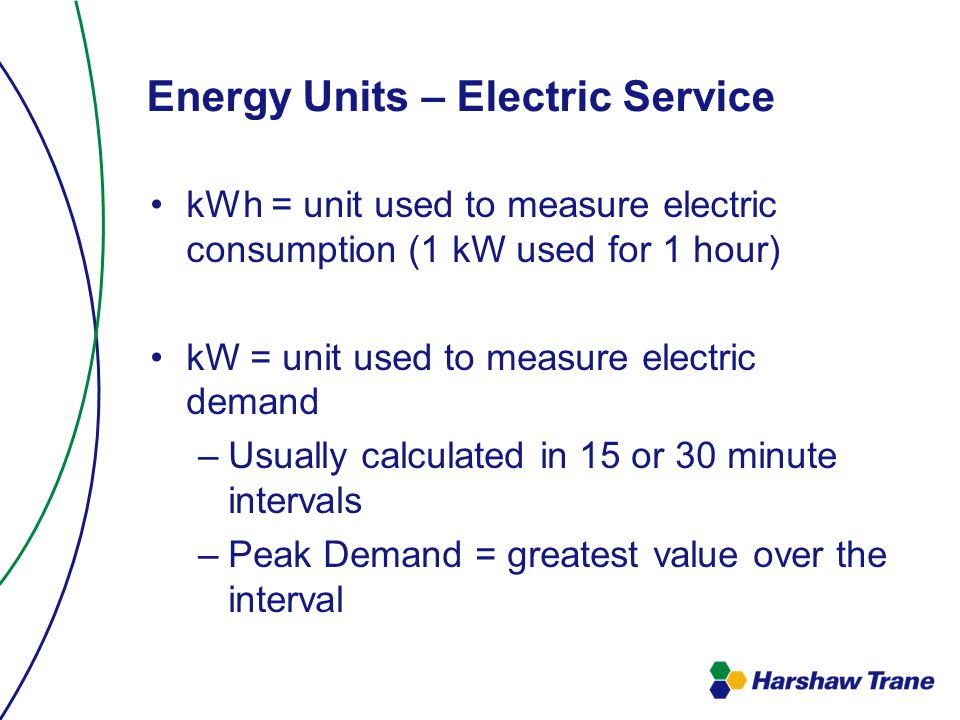 Energy Units – Electric Service kWh = unit used to measure electric consumption (1 kW used for 1 hour) kW = unit used to measure electric demand –Usually calculated in 15 or 30 minute intervals –Peak Demand = greatest value over the interval