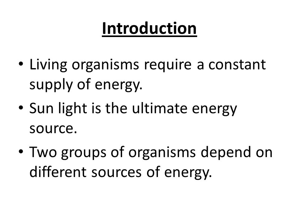 Introduction Living organisms require a constant supply of energy.
