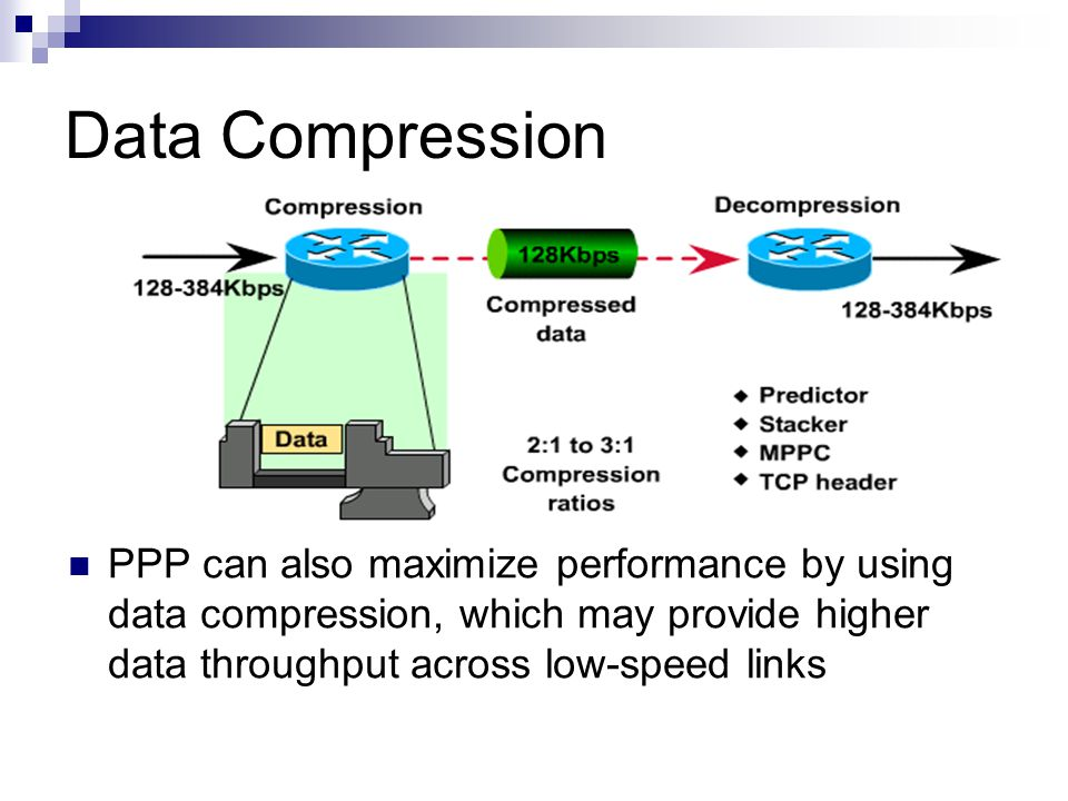 Data Compression PPP can also maximize performance by using data compression, which may provide higher data throughput across low-speed links