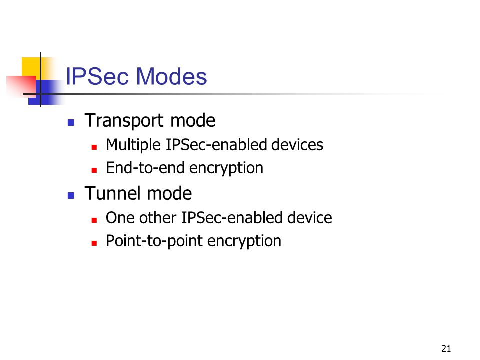21 IPSec Modes Transport mode Multiple IPSec-enabled devices End-to-end encryption Tunnel mode One other IPSec-enabled device Point-to-point encryption