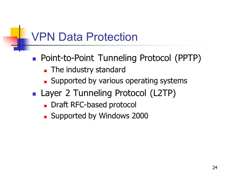 24 VPN Data Protection Point-to-Point Tunneling Protocol (PPTP) The industry standard Supported by various operating systems Layer 2 Tunneling Protocol (L2TP) Draft RFC-based protocol Supported by Windows 2000