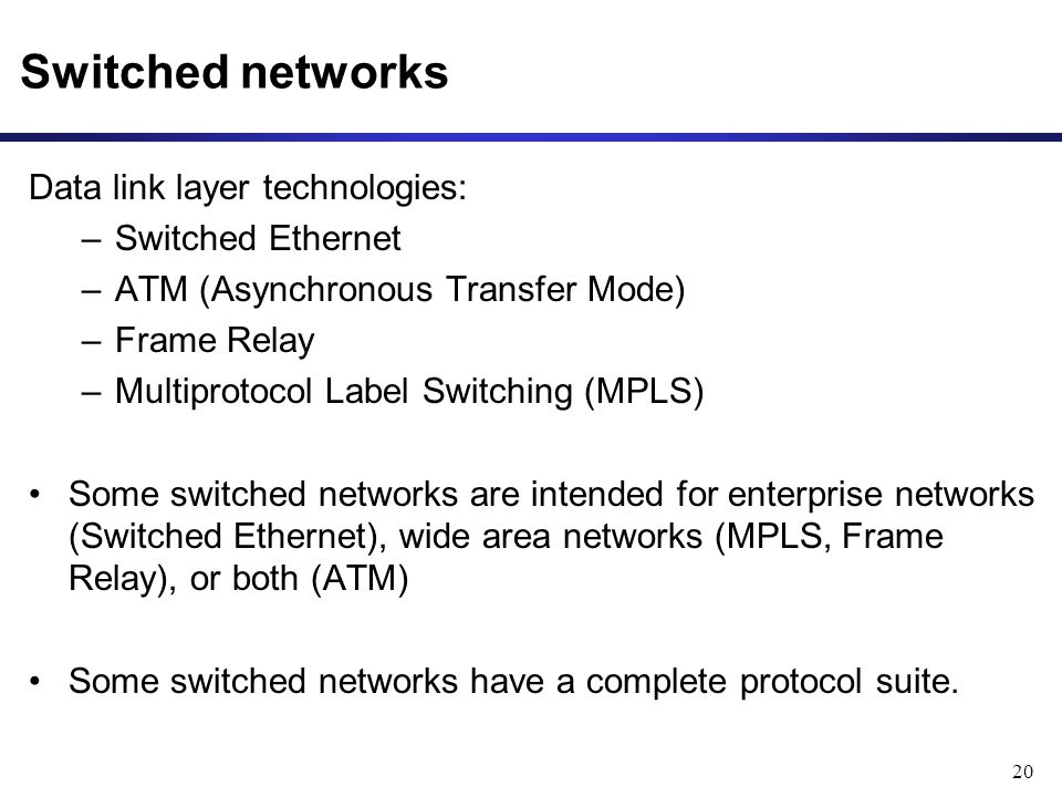 20 Switched networks Data link layer technologies: –Switched Ethernet –ATM (Asynchronous Transfer Mode) –Frame Relay –Multiprotocol Label Switching (MPLS) Some switched networks are intended for enterprise networks (Switched Ethernet), wide area networks (MPLS, Frame Relay), or both (ATM) Some switched networks have a complete protocol suite.
