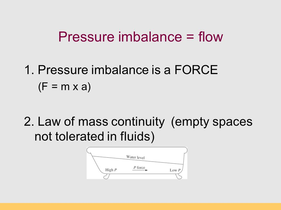Pressure imbalance = flow 1. Pressure imbalance is a FORCE (F = m x a) 2.