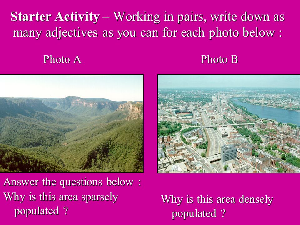 Starter Activity – Working in pairs, write down as many adjectives as you can for each photo below : Photo A Photo B Why is this area sparsely populated .