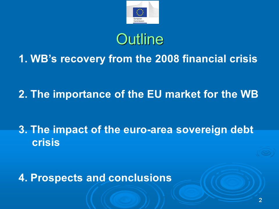 Outline 1. WB's recovery from the 2008 financial crisis 2.