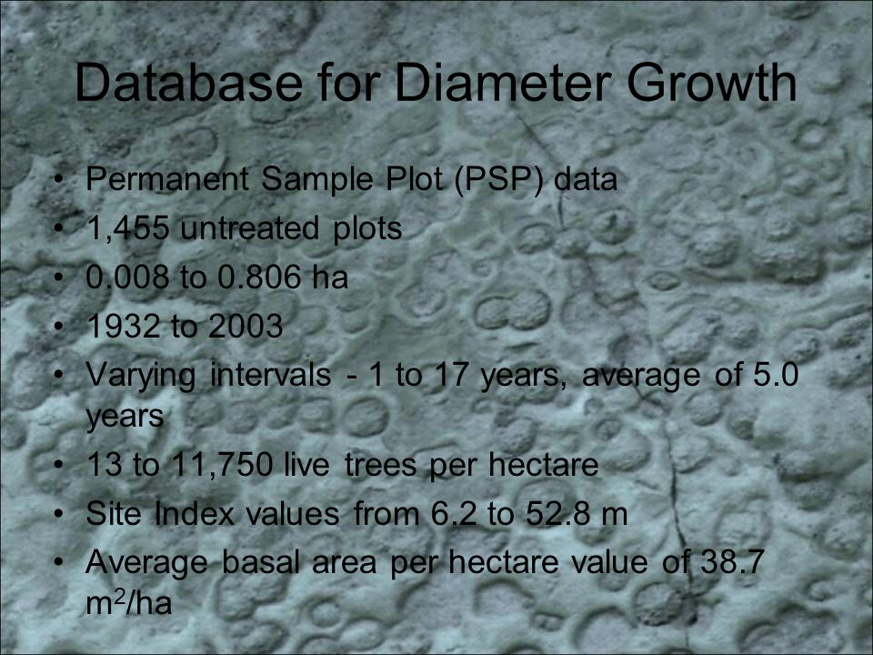 Database for Diameter Growth Permanent Sample Plot (PSP) data 1,455 untreated plots to ha 1932 to 2003 Varying intervals - 1 to 17 years, average of 5.0 years 13 to 11,750 live trees per hectare Site Index values from 6.2 to 52.8 m Average basal area per hectare value of 38.7 m 2 /ha