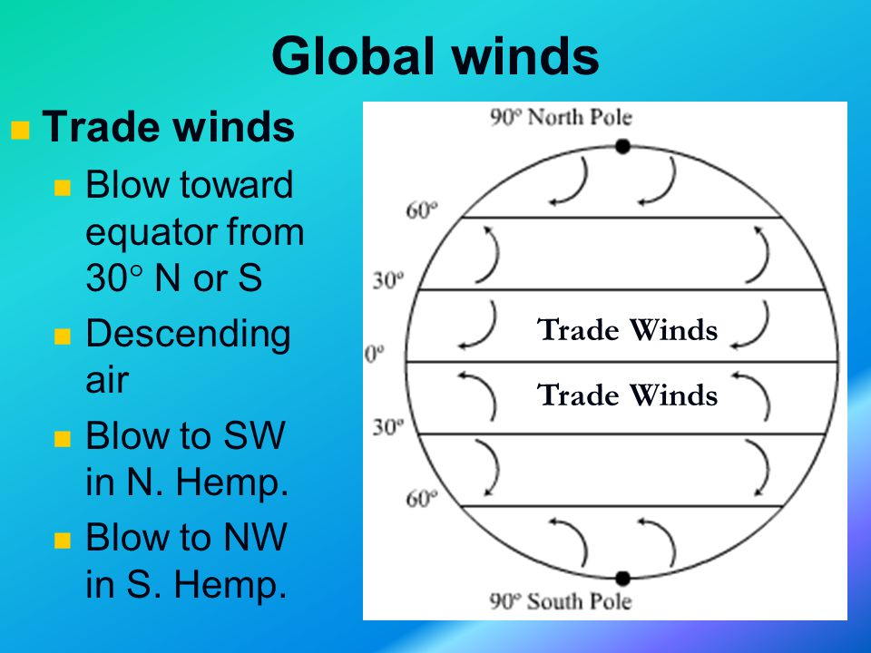 Global winds Trade winds Blow toward equator from 30  N or S Descending air Blow to SW in N.