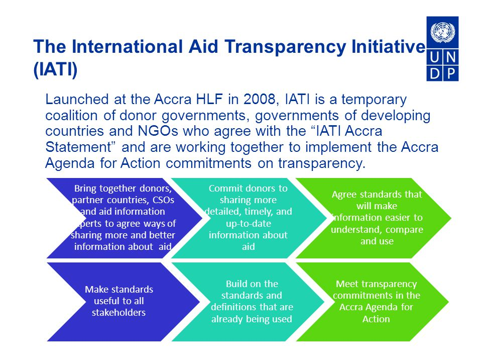 The International Aid Transparency Initiative (IATI) Launched at the Accra HLF in 2008, IATI is a temporary coalition of donor governments, governments of developing countries and NGOs who agree with the IATI Accra Statement and are working together to implement the Accra Agenda for Action commitments on transparency.