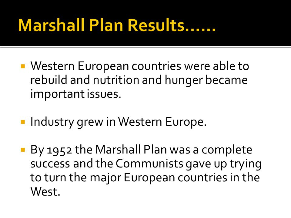  Western European countries were able to rebuild and nutrition and hunger became important issues.
