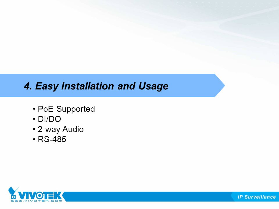 PoE Supported DI/DO 2-way Audio RS Easy Installation and Usage
