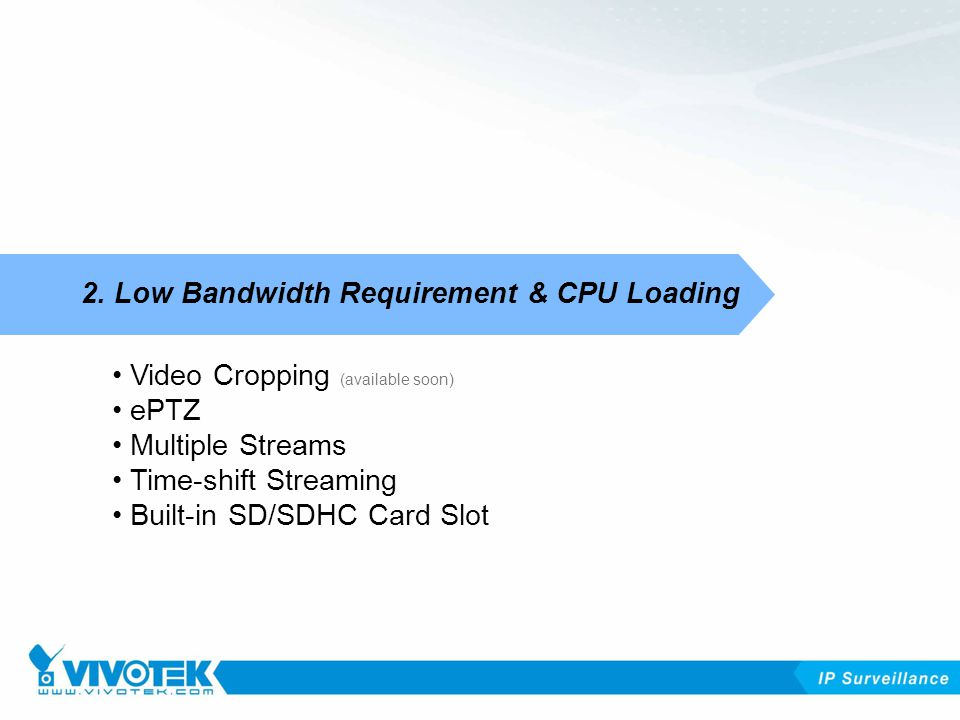 Video Cropping (available soon) ePTZ Multiple Streams Time-shift Streaming Built-in SD/SDHC Card Slot 2.