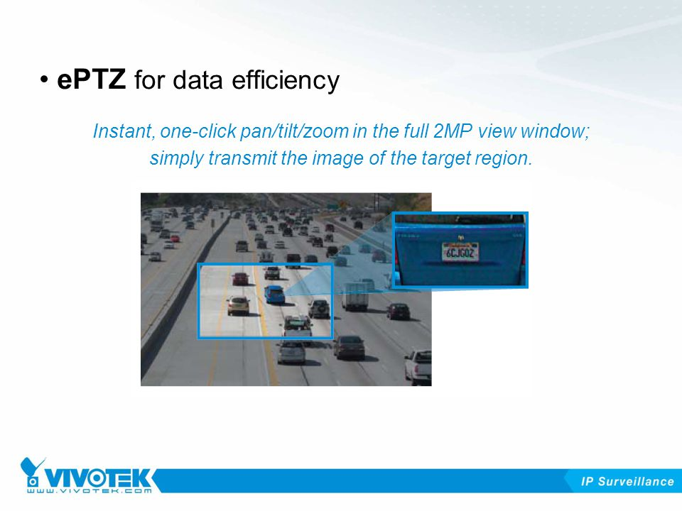 Instant, one-click pan/tilt/zoom in the full 2MP view window; simply transmit the image of the target region.