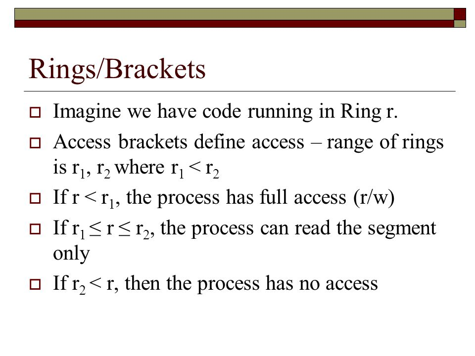 Rings/Brackets  Imagine we have code running in Ring r.