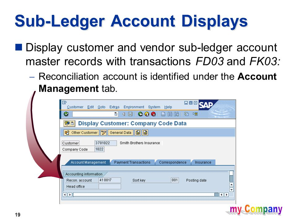 19 Sub-Ledger Account Displays Display customer and vendor sub-ledger account master records with transactions FD03 and FK03:  Reconciliation account is identified under the Account Management tab.