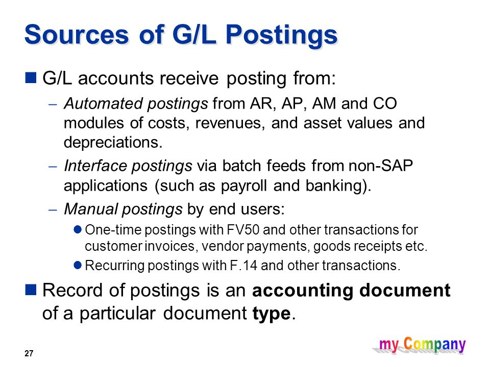 27 Sources of G/L Postings G/L accounts receive posting from:  Automated postings from AR, AP, AM and CO modules of costs, revenues, and asset values and depreciations.