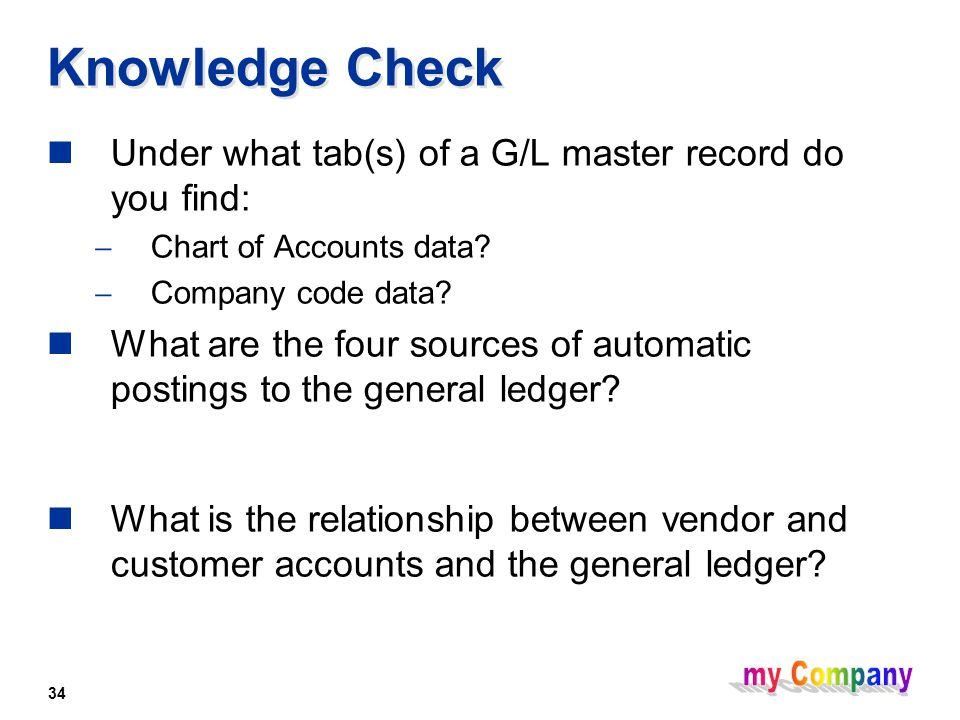 34 Knowledge Check Under what tab(s) of a G/L master record do you find:  Chart of Accounts data.