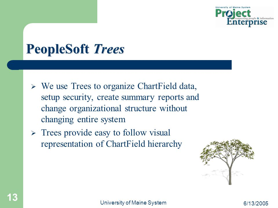 6/13/2005 University of Maine System 13  We use Trees to organize ChartField data, setup security, create summary reports and change organizational structure without changing entire system  Trees provide easy to follow visual representation of ChartField hierarchy PeopleSoft Trees
