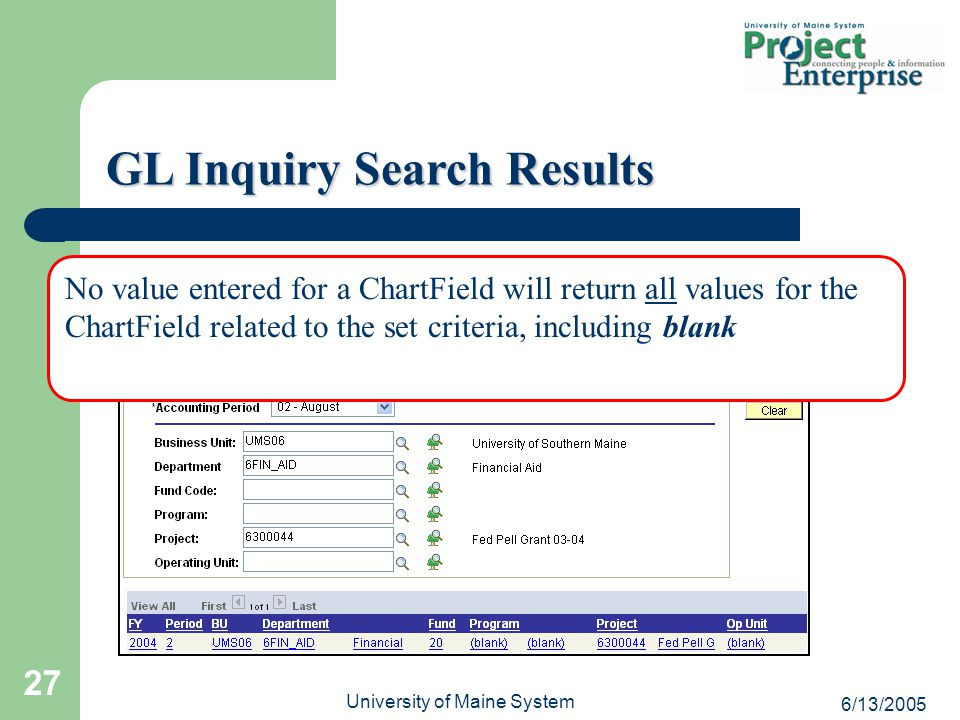 6/13/2005 University of Maine System 27 GL Inquiry Search Results No value entered for a ChartField will return all values for the ChartField related to the set criteria, including blank